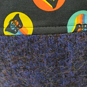 Vintage Wool Sweater & Star Wars Rainbow Darth Vader Upcycled 10x11 Project Bag