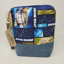 Load image into Gallery viewer, Denim Jeans & Yoda Star Wars Upcycled 10x11 Project Bag