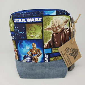 Denim Jeans & Yoda Star Wars Upcycled 10x11 Project Bag