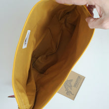 Load image into Gallery viewer, Yellow Ruler Remnant Valentine Hearts Upcycled 14.5x11 Project Bag