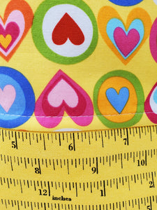 Yellow Ruler Remnant Valentine Hearts Upcycled 14.5x11 Project Bag