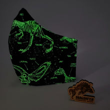 Load image into Gallery viewer, Glow-In-The-Dark Dinosaurs Reversible Bat Mask with Elastic