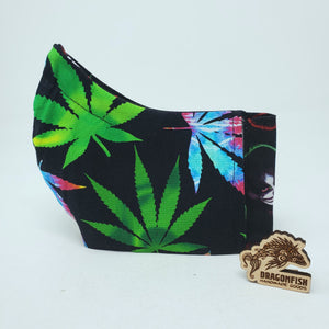 KISS + Rainbow Cannabis Reversible Bat Mask with Elastic or Ties