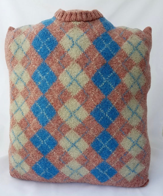 Upcycled Vintage Felted Pink Argyle Sweater Pillow