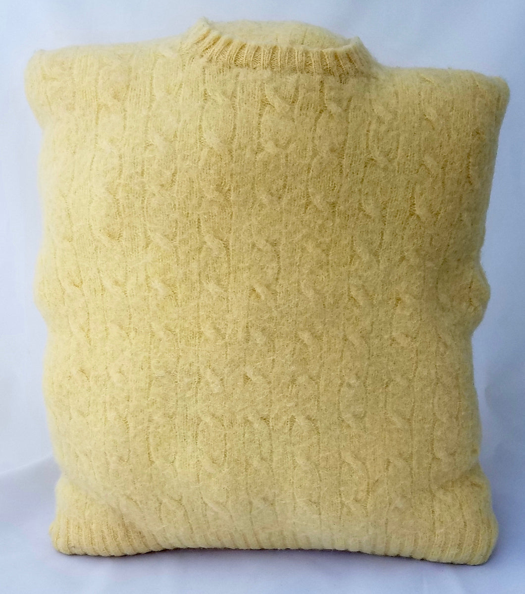 Upcycled Vintage Yellow Felted Cable Sweater Pillow