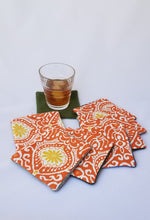 Load image into Gallery viewer, Upcycled felted sweater fabric coasters - Orange Ikat - set of 8