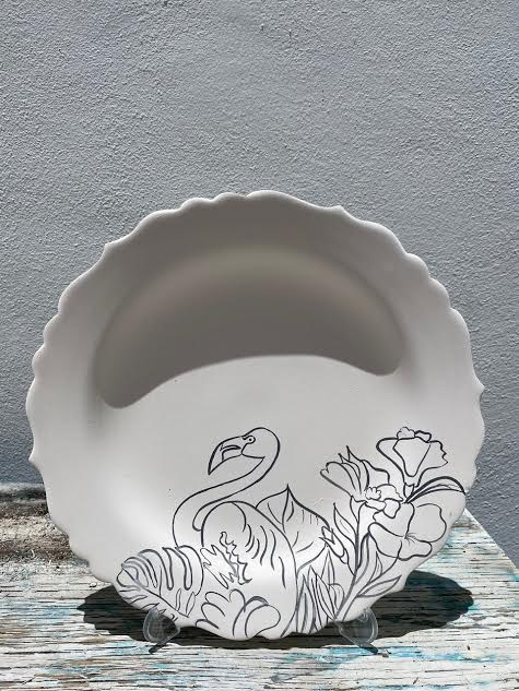 Scalloped plate with Flamingo