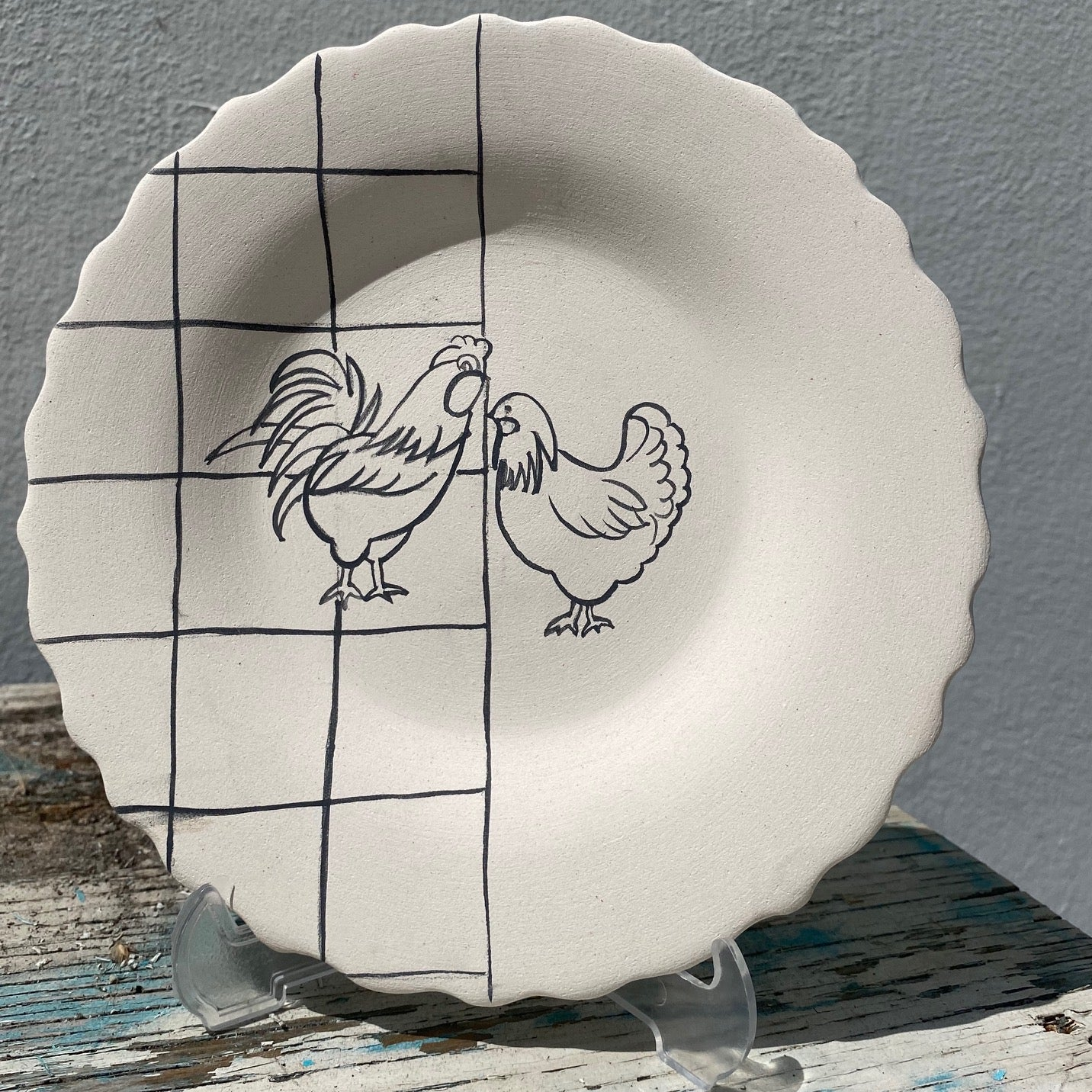 Scalloped plate with Rooster & Chicken