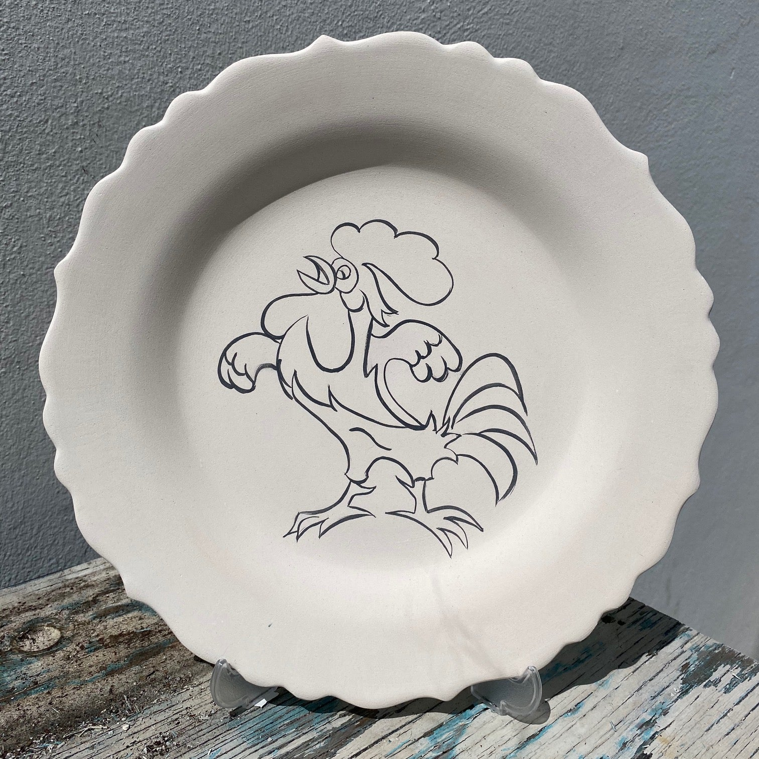 Scalloped plate with Rooster 1