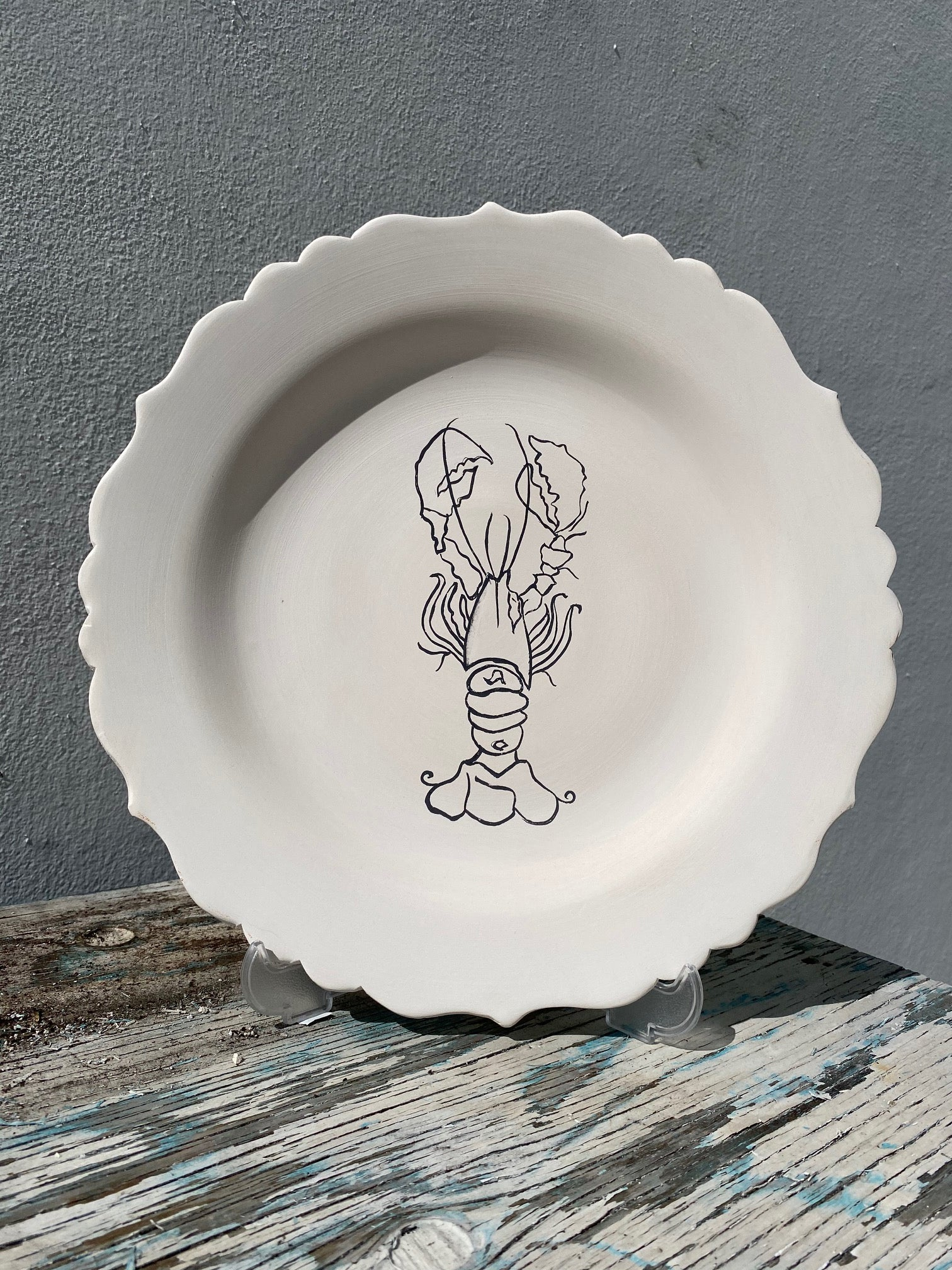 Scalloped Plate with Lobster