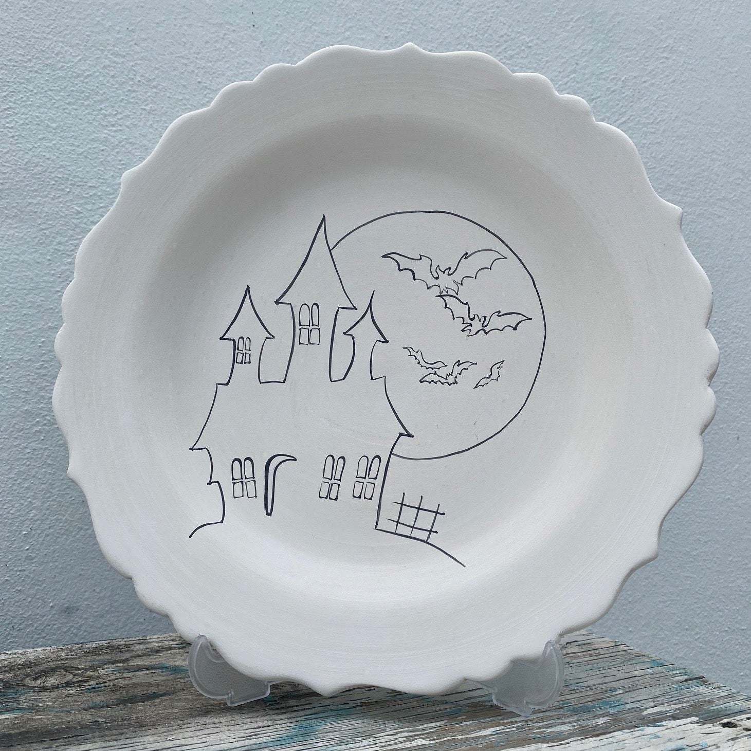 Scalloped aged Plate with Haunted House