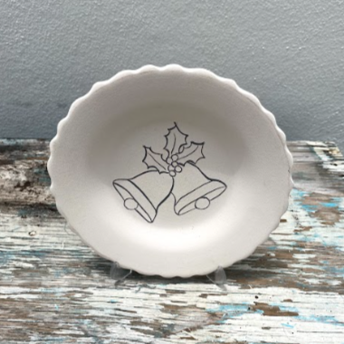Scalloped aged Plate with Bells