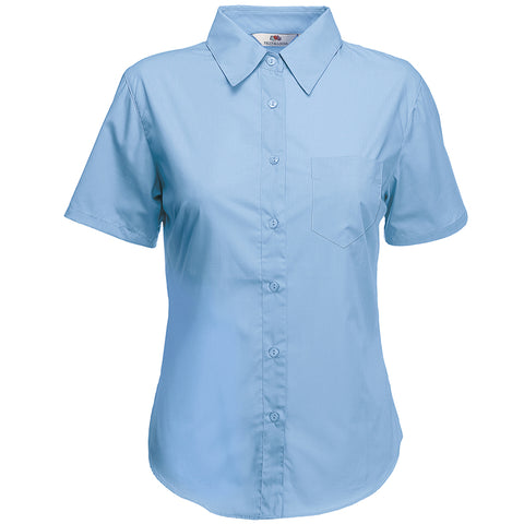 SS014 Fruit of the Loom Lady-fit poplin short sleeve shirt