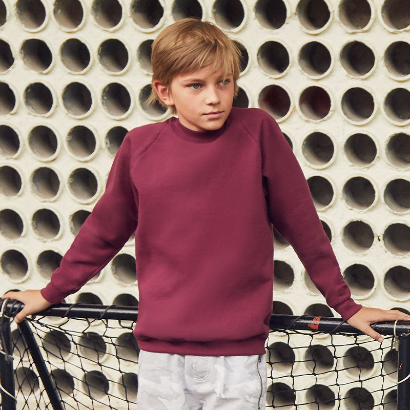 SS271 Fruit of the Loom Kids Classic Raglan Sweatshirt