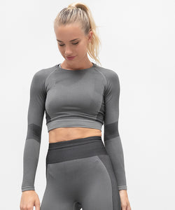 TL352 Tombo Women's Seamless Panelled Long Sleeve Crop Top