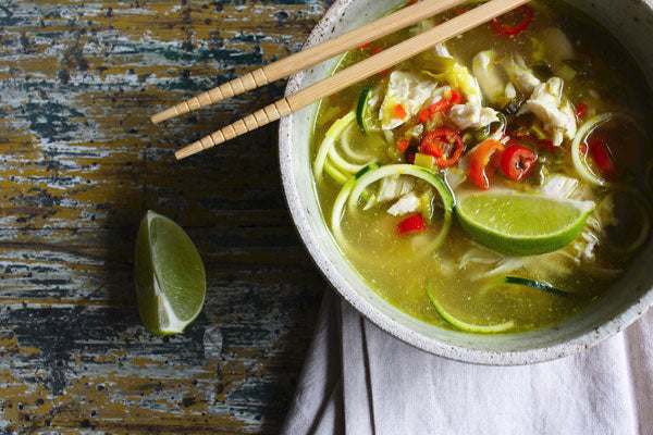 Gluten Free Chicken Pho with Zucchini Noodles