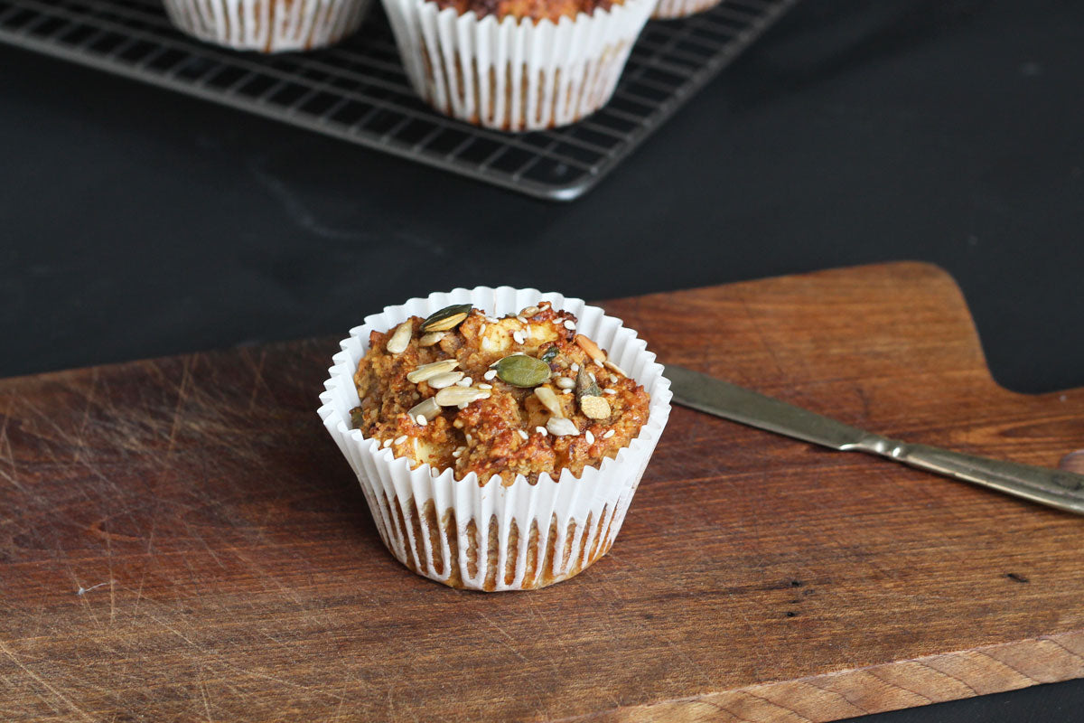 Nutty coconut lime apple muffins