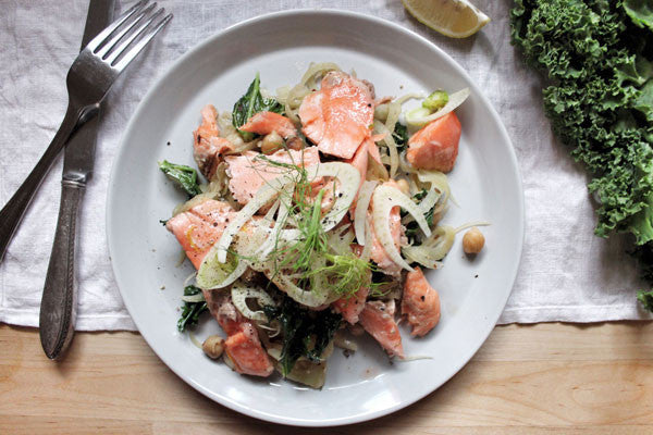 Warm trout salad with fennel, kale and chickpeas