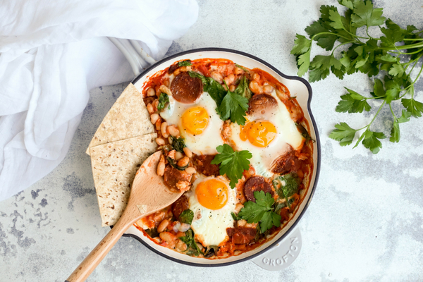 One pan baked eggs with chorizo