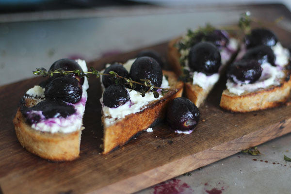 Roasted Grapes and Goats Cheese on Grilled Bread