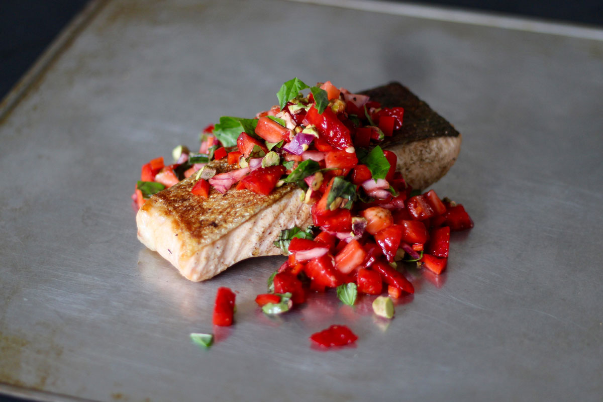 Crispy skinned salmon with strawberry salsa