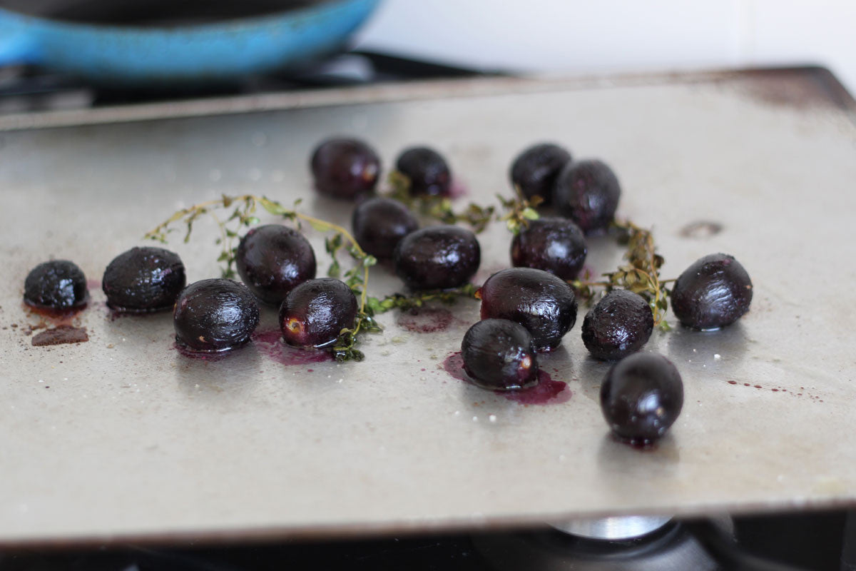 Thyme Roasted Red Grapes on Grilled Toast
