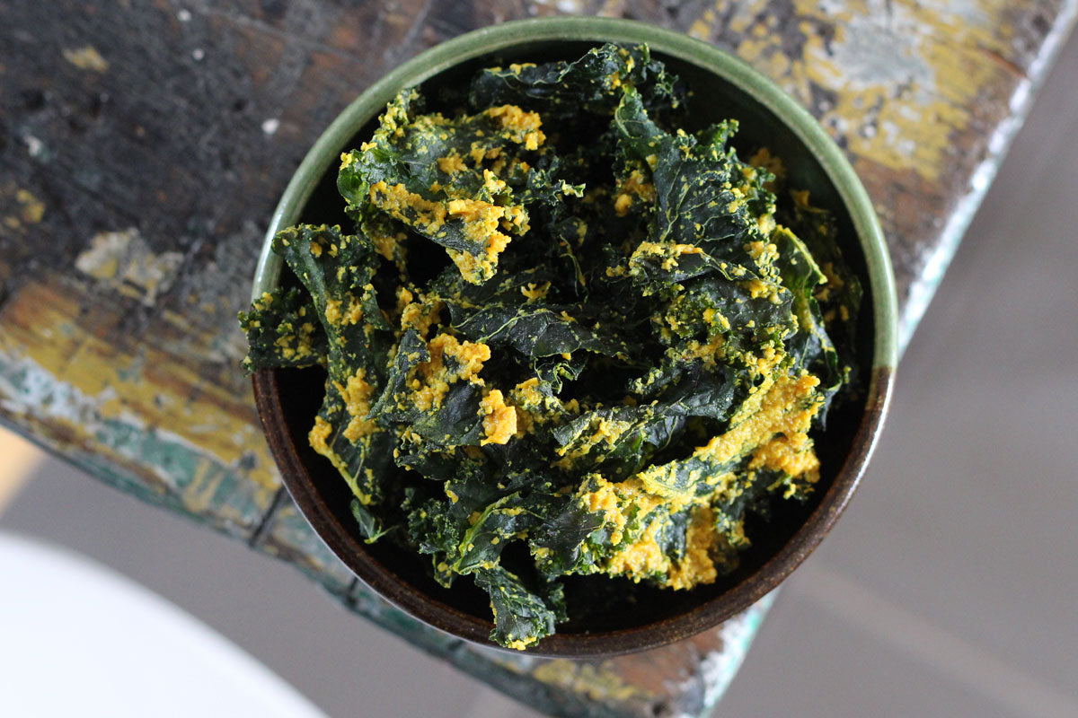 Very cheesy vegan kale chips