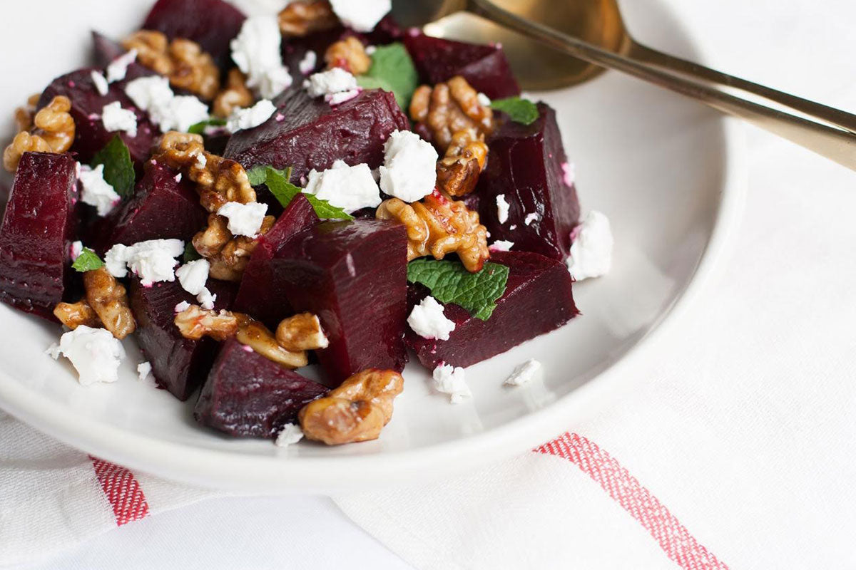 Beetroot salad with candied walnuts feta and mint