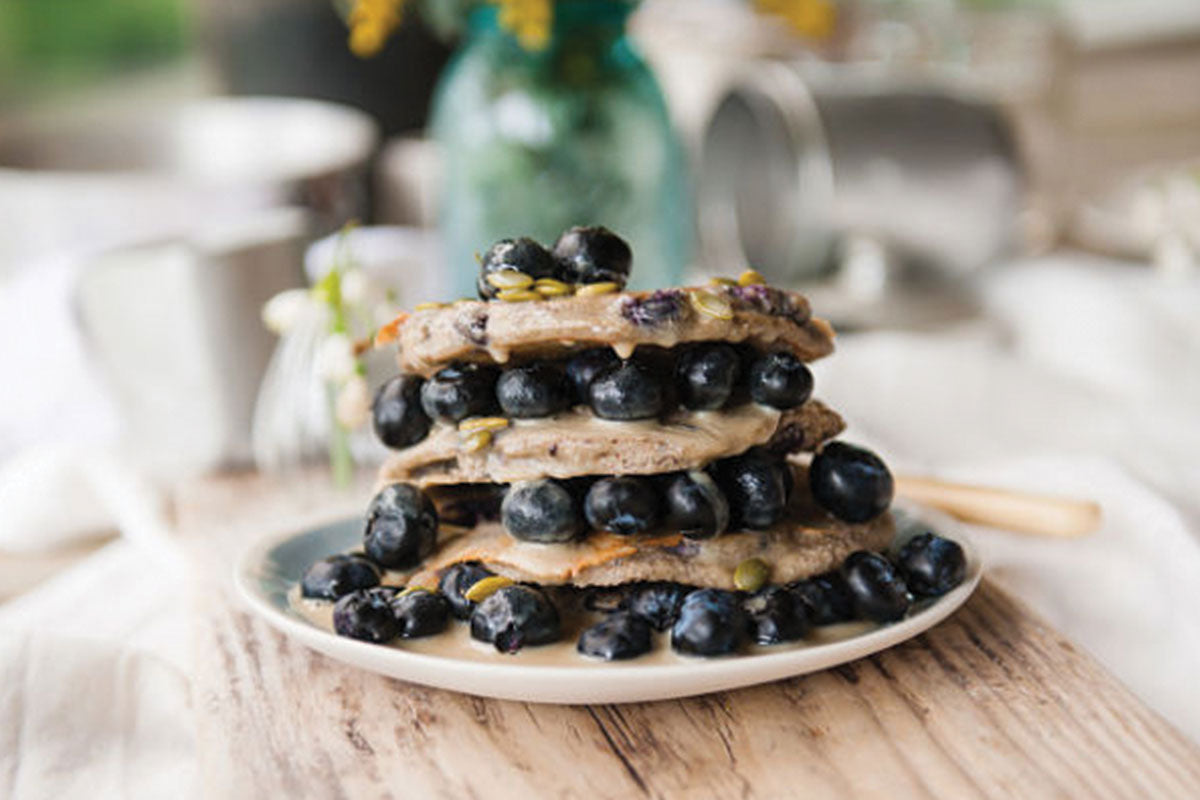 Blueberry pancakes with tahini drizzle