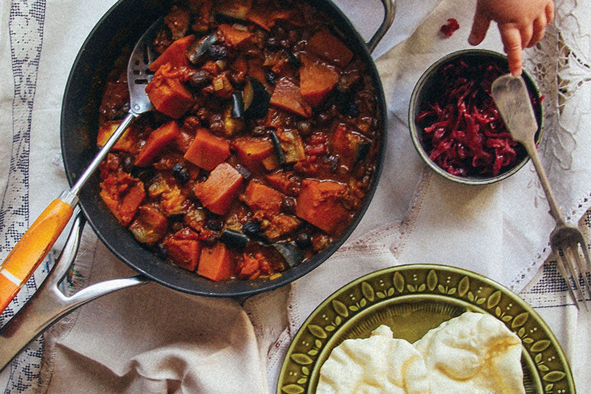 Eggplant and pumpkin indian curry