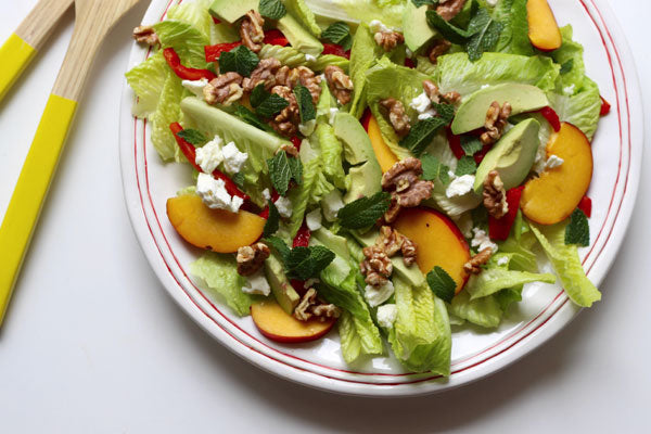 healthy salad recipe peach avocado
