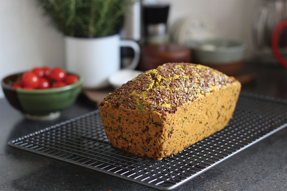 Turmeric goats curd onion seed loaf