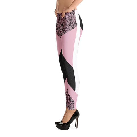Fashion Leggings | Abstract in Black & Pink | ACES INFINITY