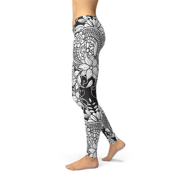Fashion Leggings | Artist | Black & White Doodle | ACES