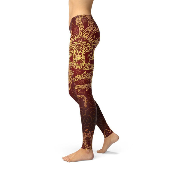 Fashion Leggings | Dragon | Gold Dragons | ACES INFINITY