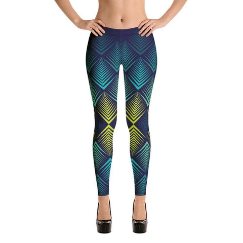 Fashion Leggings | Fancy | Abstract in Yellow & Blue | ACES