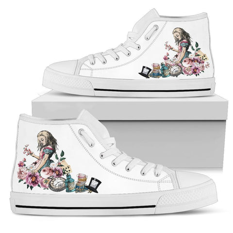 High Top Sneakers - Alice in Wonderland Gifts #44 White/Pink