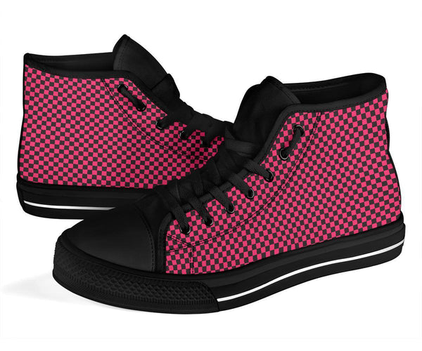 High Top Sneakers - Black and Pink Checkers | Custom High