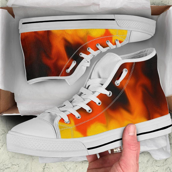 High Top Sneakers - Fire (White) | Custom High Top Shoes
