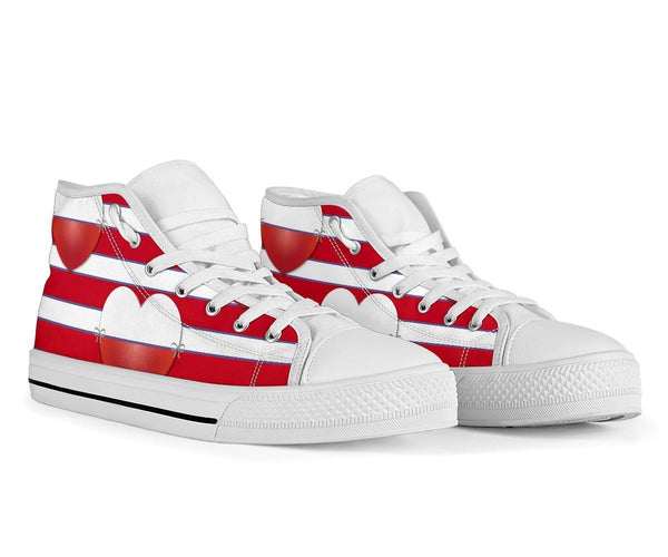 High Top Sneakers - Red & White Stripes | Custom High Top
