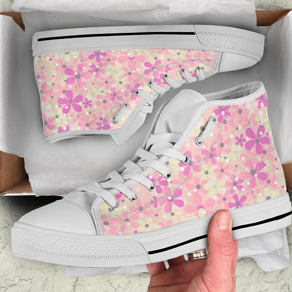 High Top Sneakers - Sweet Floral | Blush Pink Flat Shoes