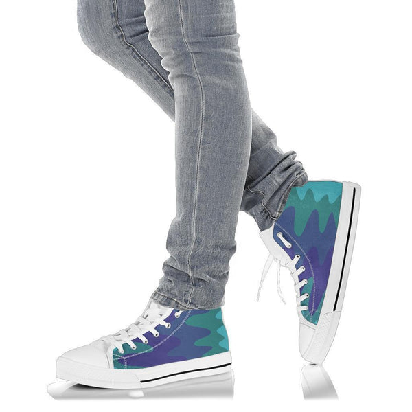 High Top Sneakers - Wavy Cool (White) | Custom High Top