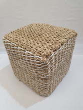 Load image into Gallery viewer, White and Natural Woven Padded Jute Stool/Sidetable