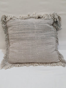 Light Blue Fringed Cushion