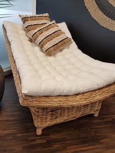 Natural Wicker Rattan Daybed with Black Cotton Mattress