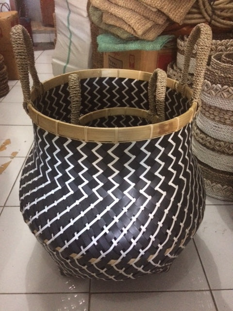 Black & White Recycled Plastic Woven Basket