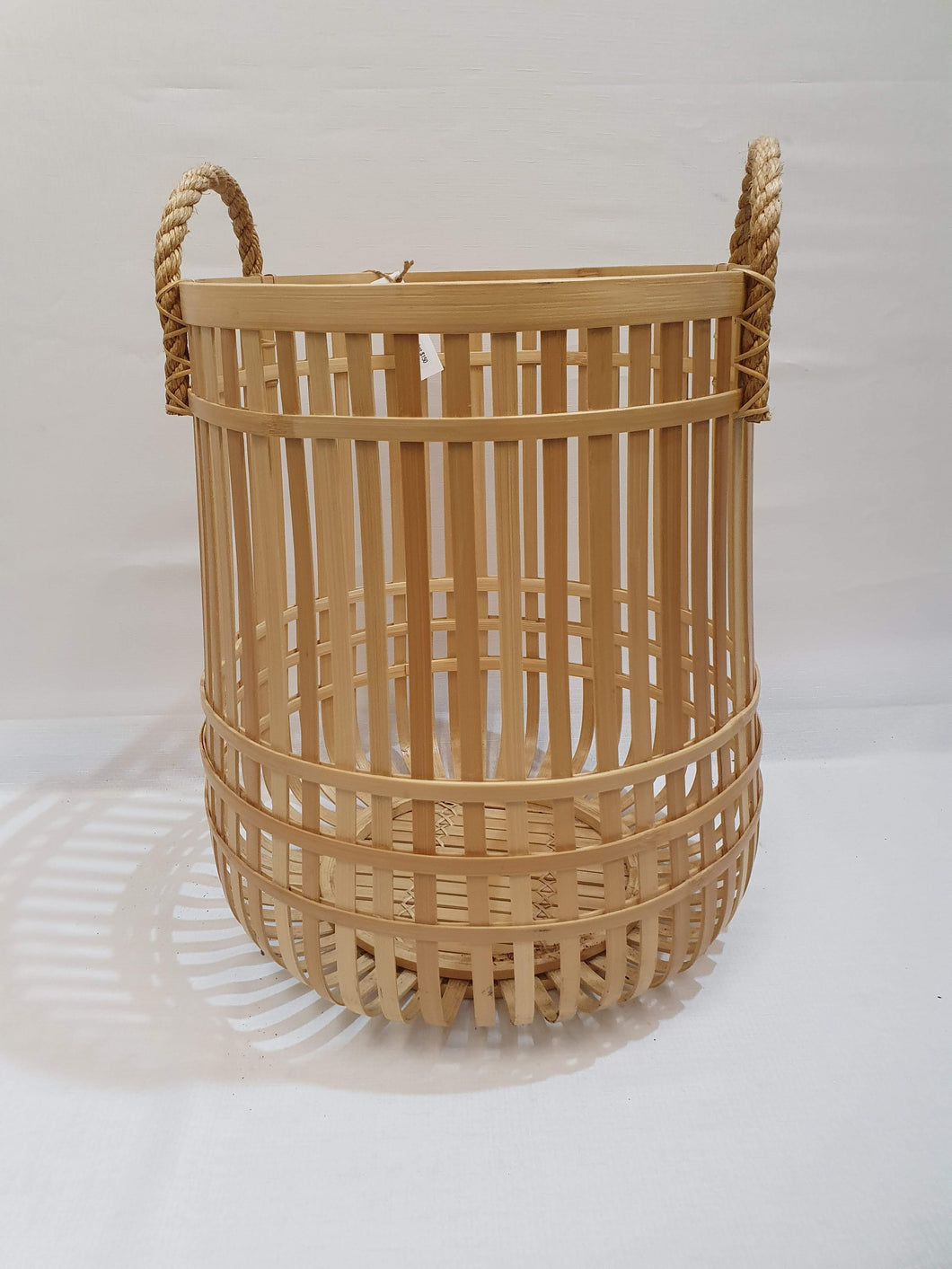 Large Bamboo Basket Natural with Rope Handles