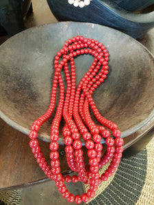 Red Coloured Bead Necklace