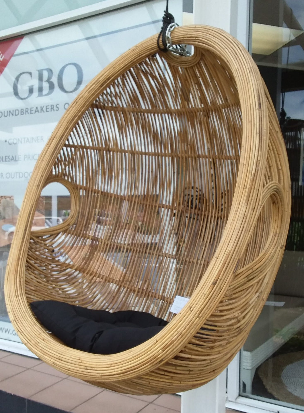 Rattan and Bamboo Cocoon Hanging Egg Basket