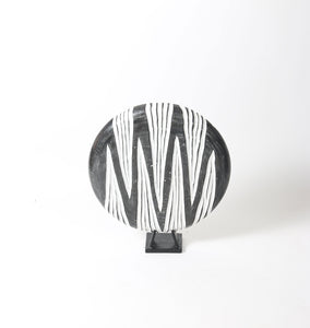 Carved Black and White Table Plate on Wooden Stand